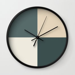 4 Quarters Green & Beige Blocks Inspired by PPG Glidden Colors of 2019 Night Watch and Accent Color Wall Clock