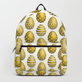 Happy golden yellow Easter eggs Backpack