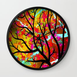 Autumn Leaves - Red Wall Clock