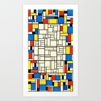 mondrian Art Prints featuring Mondrian by PureVintageLove
