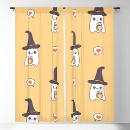cute cartoon ghosts with pumpkins pattern background Blackout Curtain