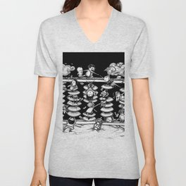 Monochrome surrealistic Illustration:Calculation/Abacus Unisex V-Neck