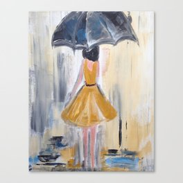 Beautiful Lady in Yellow in the Rain on Canvas Canvas Print