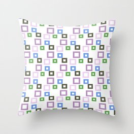 Geometrical lilac lavender blue forest green squares pattern Throw Pillow