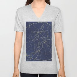 Rome Blue and Gold Street Map Unisex V-Neck