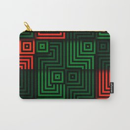 Red and green tiles with op art squares and corners Carry-All Pouch