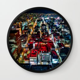 A Peaceful City - Sapporo , Japan ( with Billboard )  Wall Clock