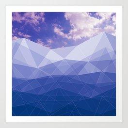 Mountains poligonal and the sky Art Print