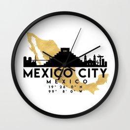 MEXICO CITY MEXICO SILHOUETTE SKYLINE MAP ART Wall Clock