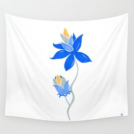 Abstract blue flower Wall Tapestry