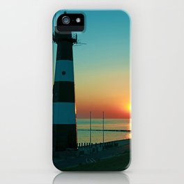 Sunset by the old Lighthouse in Breskens, Netherlands iPhone Case