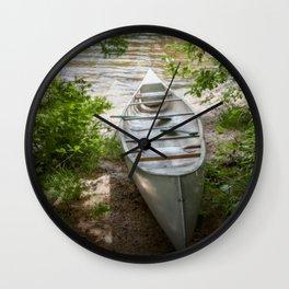 Canoe by the Lake Wall Clock