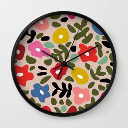 Flower meadow in muted colours Wall Clock