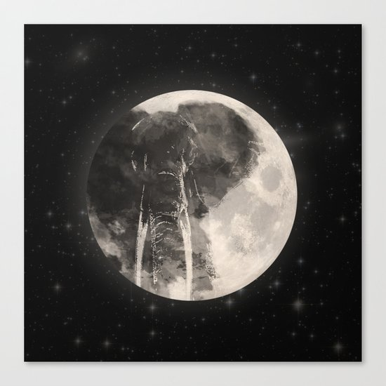 The Elephant in The Moon Canvas Print