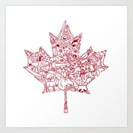 Maple Leaf - red Art Print