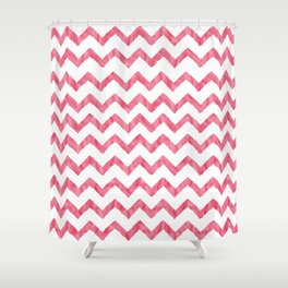 Chevron Red And White Shower Curtain