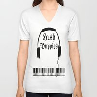 puppies V-neck T-shirts featuring Hush Puppies Reverse  by Mike Semler