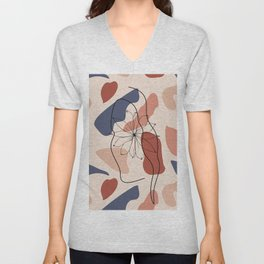 female face abstract shapes minimal modern one line art sketch Unisex V-Neck