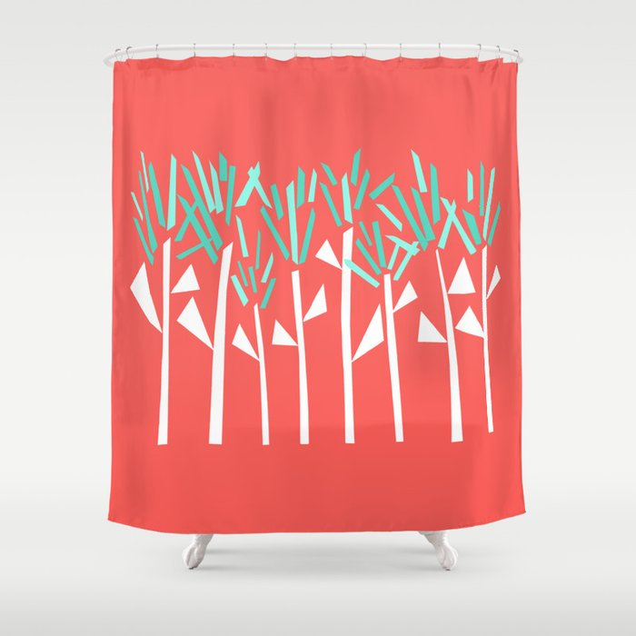 Coral and Teal Botanical Collage Print Shower Curtain
