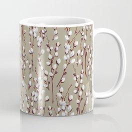 Pussywillow Pattern — Taupe Coffee Mug