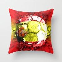 spain Throw Pillows featuring football  spain by seb mcnulty