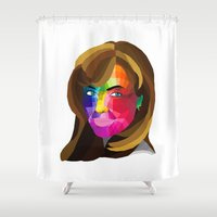 angelina jolie Shower Curtains featuring Angelina Jolie - popart portrait by Dep's
