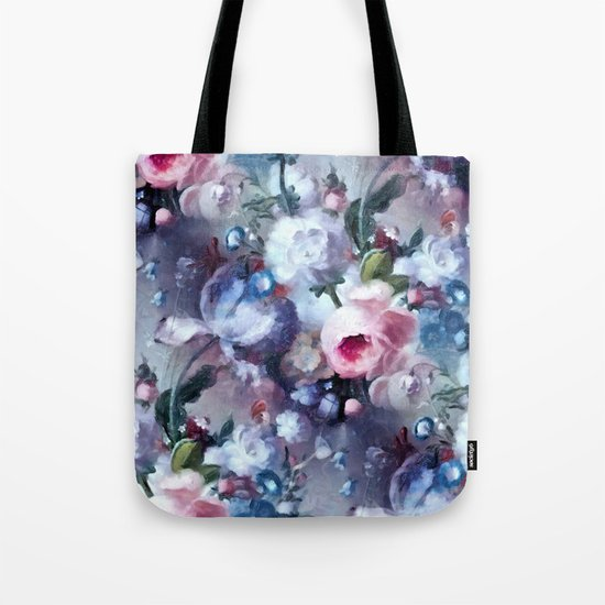 Blue and pink floral pattern Tote Bag