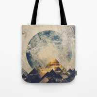 grunge Tote Bags featuring One mountain at a time by HappyMelvin