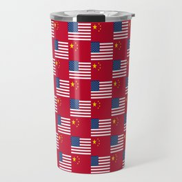 Mix of flag : usa and China Travel Mug