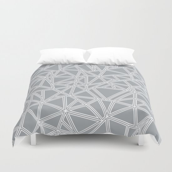 Shattered Ab Grey and White  Duvet Cover