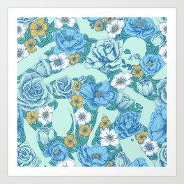 Weapon Floral-Blue Art Print