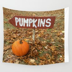 Pumpkin Sign Wall Tapestry