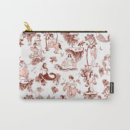 Classic Ruby Pink Zodiac-Inspired Toile Pattern Carry-All Pouch