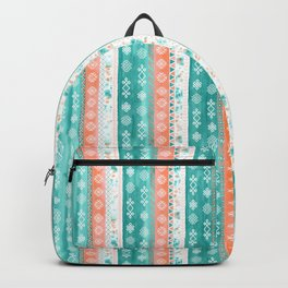 Baltic Bohemian Pattern - Teal Coral Backpack