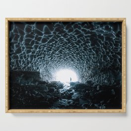 Glacial Ice Cave in the Mountains - Landscape Photography Serving Tray