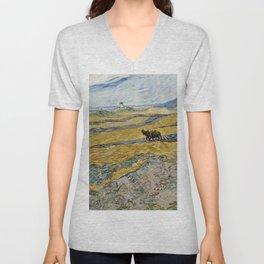 "Vincent van Gogh ""Enclosed field with ploughman"" Unisex V-Neck"