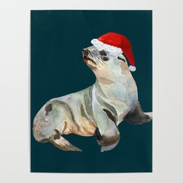 Christmas fur seal Poster