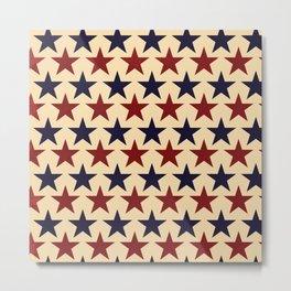 Vintage look Americana Large Stars Tan Beige Navy Blue and Red Metal Print