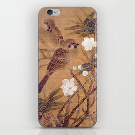 Sparrows, plum blossoms, and bamboo iPhone Skin