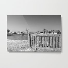 Bench on the River Thurne Metal Print