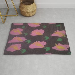 Pink Flower Abstract Rug