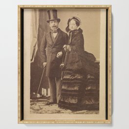 Vintage Photograph - André Adolphe-Eugène Disdéri - Napoleon III and Eugenie (1870) Serving Tray