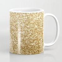 gold glitter Mugs featuring Gold glitter by Masanori Kai