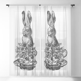Rabbit in a Teacup | Vintage Rabbit in Tea Cup with Wildflowers | Bunny Rabbits | Black and White | Sheer Curtain
