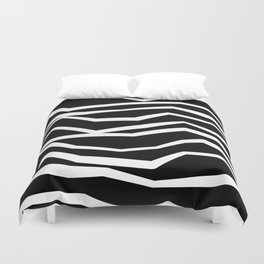 Wavy zig zag lines edgy black and white Duvet Cover