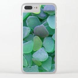 Green Beach Glass Assortment Clear iPhone Case