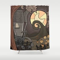 nightmare before christmas Shower Curtains featuring Nightmare Before Christmas by Lacey Simpson