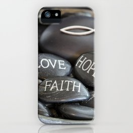 Love Faith Hope Christian Quote Black Pebble Embossing iPhone Case