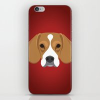 beagle iPhone & iPod Skins featuring Beagle by Three Black Dots