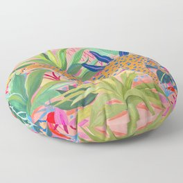Leopard in Succulent Garden Floor Pillow